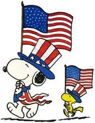 snoopy and woodstuck parading in 4th of July parade