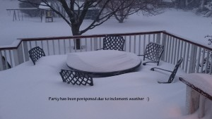snowed in outdoor furniture