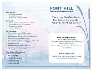 Font Hill Neighborhood Association brochure inside pages
