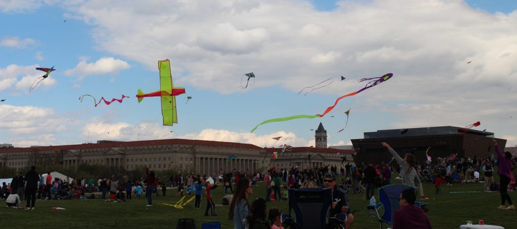 Kites flying at the Washington Monument in Washington DC