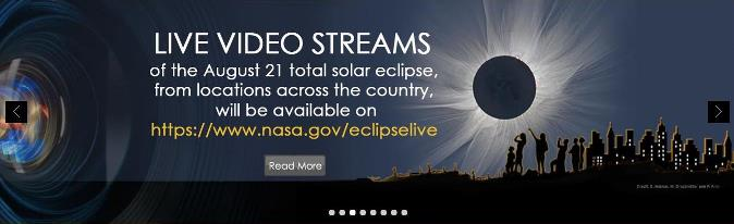 NASA eclipse banner showing the link to the Live Video Stream