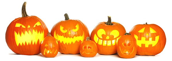 Grouping of carved pumpkins