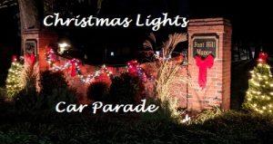 neighborhood entry with Christmas Lights
