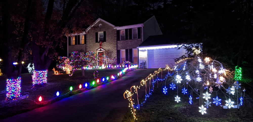 front yard decorate with lots of lights for the Christmas holidays